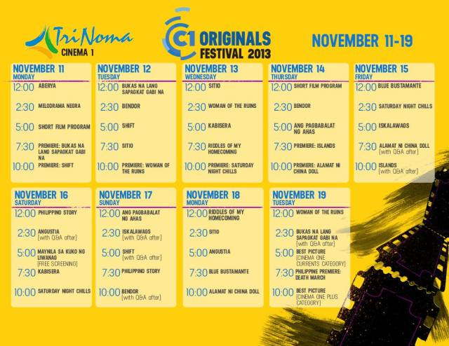 Cinema One Schedule